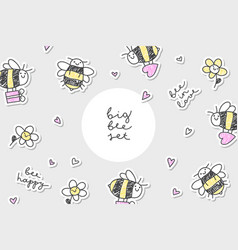 Bees stickers frame vector