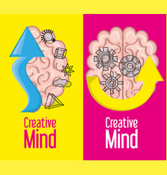 brain inspired in big ideas and knowledge vector image