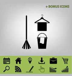 Broom bucket and hanger sign black icon vector