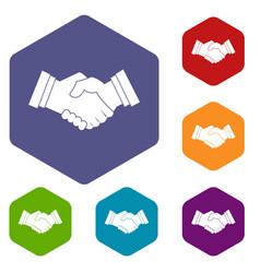 Business handshake icons set hexagon vector