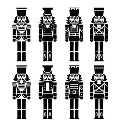Christmas nutcracker - soldier figurine black icon vector