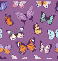 Colorful different summer butterfly wings seamless vector