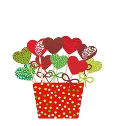 Colorful sweet heart cake pops set with bow in a vector