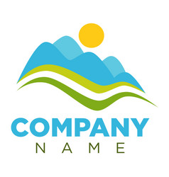 Company logotype with minimalistic landscape vector