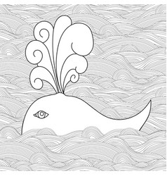 Cute unusual cartoon decorative whale in the sea vector