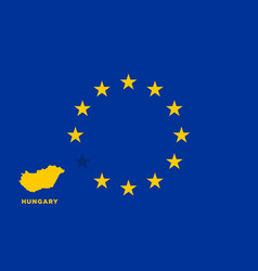 Eu flag with hungary country european union vector