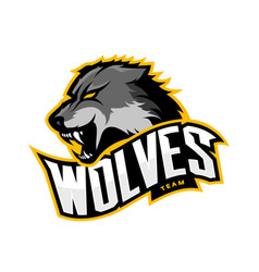Furious wolf sport logo concept isolated on vector