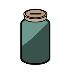 Glass bottle to save cash money vector