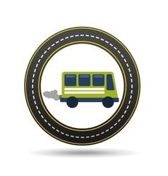 green bus with smoke circle road way design vector image