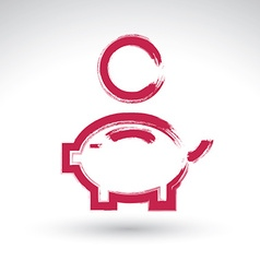 Hand drawn pink piggybank icon brush drawing coin vector