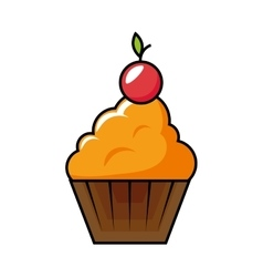 Happy birthday delicious cupcake vector