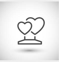 Heart statue line icon vector
