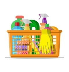 household cleaning products and accessories vector image
