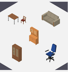 Isometric design set of office couch chair and vector