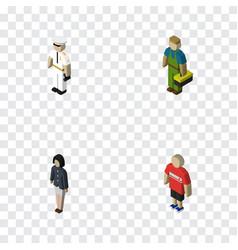 Isometric people set of seaman plumber girl and vector