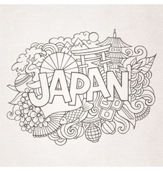 Japan country hand lettering and doodles elements vector image vector image