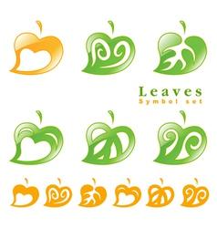 leaves symbol set vector image vector image