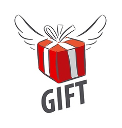 logo red gift box with wings vector image