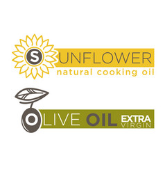 Olive and sunflower oil product label vector