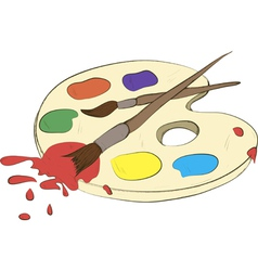 palette with paints and brushes vector image