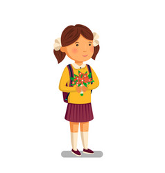 schoolgirl happy schoolgirl with backpack vector image
