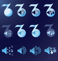set blue notes speakers dark background vector image