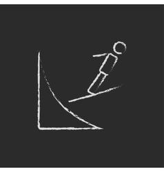 Ski jumping icon drawn in chalk vector