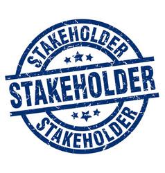 Stakeholder blue round grunge stamp vector