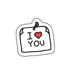 Sticker with love message doodle icon vector