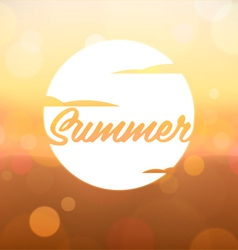 Summer label on blurred background vector