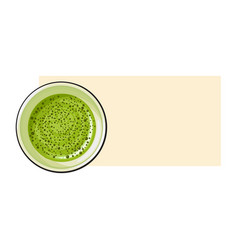 Top view drawing of matcha green tea drink in cup vector