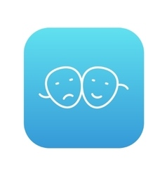Two theatrical masks line icon vector image