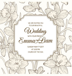 Wedding invitation card daffodil narcissus flowers vector