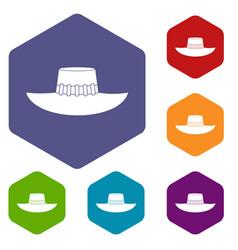 Woman hat icons set hexagon vector