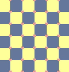 Yellow and blue colors pattern with pink hearts vector image vector image