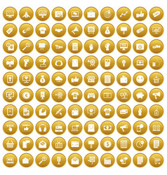 100 internet marketing icons set gold vector