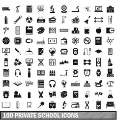 100 private school icons set simple style vector