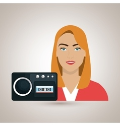 Woman voice recorder news vector