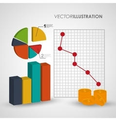 Infographic coins data and information design vector