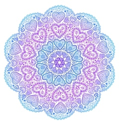Ornamental round hearts pattern in indian style vector