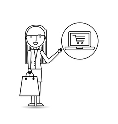 drawing girl shopping with laptop online vector image