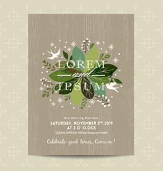 Wedding card with cute green floral background vector