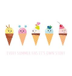 Kawaii ice cream cone characters cute cartoons vector