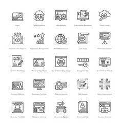 Web and seo line icons 32 vector