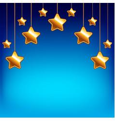 Cartoon stars on blue sky background vector