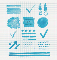 Set of transparent highlighter marks blue color vector