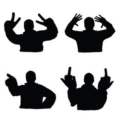 Man silhouette set in various poses design vector
