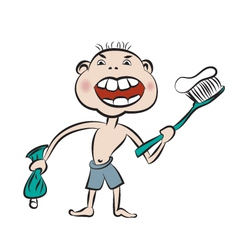 with prepare to brush the teeth vector image