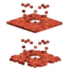 3d cube exploding floor pattern in red orange vector
