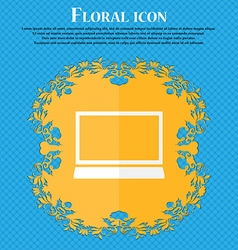 Laptop sign icon notebook pc symbol floral flat vector